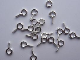 CH.563.20- 20 stuks mini schroefoogjes 10x5mm zilverkleur