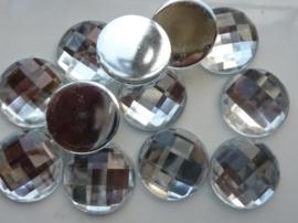 12 stuks grote ronde kunststof strass stenen met platte achterkant 20mm zilver