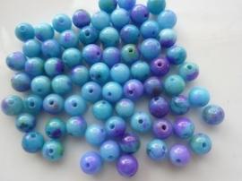 3781- 65 tot 70 stuks naturel Jade mineraal kralen van 6mm blauw/paars mix