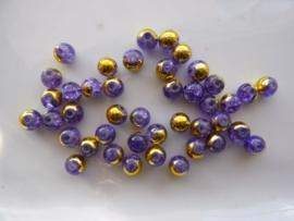 5001- 40 stuks qraccle glaskralen van 6mm paars met goud electroplated - SUPERLAGE PRIJS!