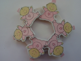 CH.031- 6 stuks wasknijpers babyroze met baby figuurtjes - SUPERLAGE PRIJS!