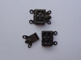 9206- siersluiting voor 2 rijen draad 9x14.5mm antraciet