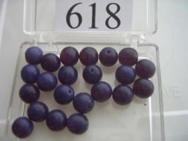 20 stuks 618 Ronde glaskraal 8 mm. paars
