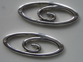117465/0895- zwaar metalen tussen/sierstuk 5x2cm ovaal