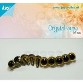 Joy6300/0604- 10 stuks kristal ogen 14mm beige