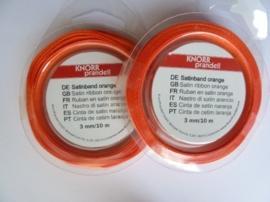 006302/0010- 10 meter satijnlint van 3mm breed op een rol oranje