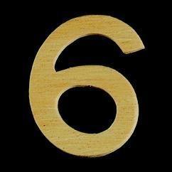8735 640- 4cm houten cijfer 6