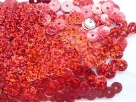 118372/454- 10gram gladde pailletten van 8mm in glitter rood (grote hoeveelheid!)