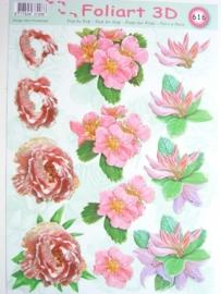kn/454- A4 knipvel AANBIEDING foli art no.616 bloemen