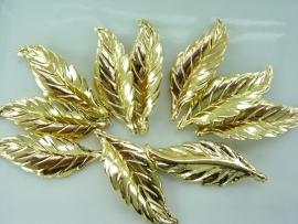 SLK.015- 10 stuks blaadjes goudkleur van 5x1.8cm OPRUIMING