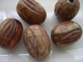 resin kraal ovaal 24x19mm bruin geaderd 117465/4518KA