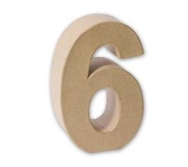 1929 3136- eco shape stevige decoratie cijfer van papier mache - 3D cijfer 6