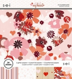 005967- 24 vel paper pad S.E.I `With all my heart` 15.2x15.2cm OPRUIMING