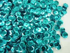 118372/533- 10 gram pailletten 6mm facon metaal turquoise (grote hoeveelheid) SUPERLAGE PRIJS!
