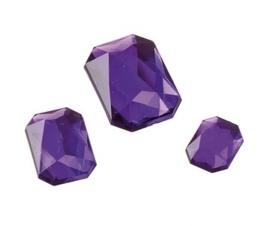 2282 460- 80 x kunststof strass stenen assortiment rechthoeken van 8/10/13mm paars