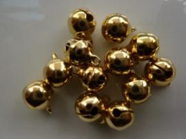 4213- 12 stuks kattebelletjes van 10mm goudkleur