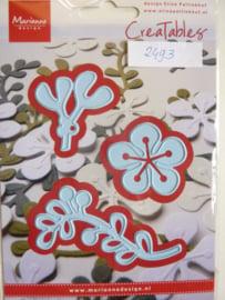 0002493- Marianne Design Creatables stencil nr.189 bloementak (de onderste is 7cm lang) OPRUIMING