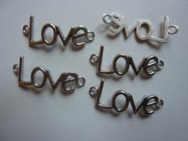 """CH.056- 5 stuks tussenstukken """"LOVE"""" 4x1.5cm antiek zilver - SUPERLAGE PRIJS!"""