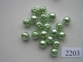 2203HT- 20 x glasparels 8mm licht groen