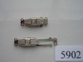 5902- 2 rij luxe siersluiting 21x7mm staalkleur