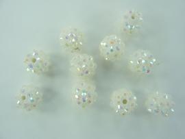 3989- 10 stuks strass ballen van 12mm wit AB