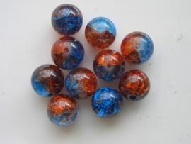 4080- 10 x qraccle glaskralen 10mm tweekleurig oranje/blauw
