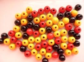 6018 200 - 80 stuks houten kralenmix rood/zwart/geel 8mm