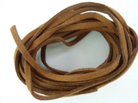 3 meter imitatie suede veter van 3mm breed warm bruin