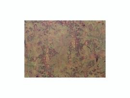 KN218301420- kaarsen versierwas plaatje 17.5x8cm marmer antiek rood/goud