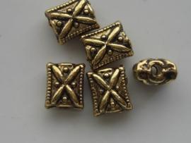 5 x zwaar metalen kralen 10.5x9x6mm 10303/8159PA