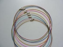 10 x draad colliers / staaldraad kettingen 45 cm met sluiting kleurmix -SUPERLAGE PRIJS!