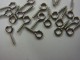 CH.076- 20 stuks RVS mini schroefoogjes 10x4 mm. staalkleur