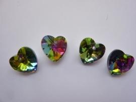 117471/0840- 4 x geslepen kristalhangers hartjes 14x13x7mm - SUPERLAGE PRIJS!