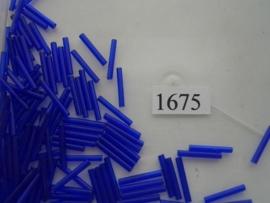 1675- 15mm glazen stiftjes d.blauw transparant 15gr