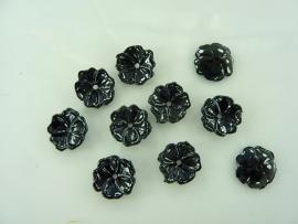 SLK.032- 10 stuks bloemetjes zwart van 1.4cm OPRUIMING
