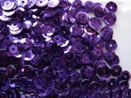 118372/511- 10 gram pailletten 6mm facon paars/metaal (grote hoeveelheid) SUPERLAGE PRIJS!