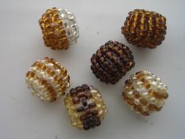 6 x kraal omwonden met rocailles bruin 117206/1410
