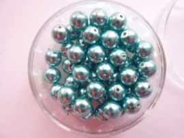 50 x ronde glasparels in een doosje 6mm turkoois - 2219 655