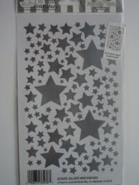 5437- E-Z Rub-ons zilveren sterren incl. krasstokje