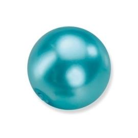 25 x ronde glasparels in een doosje 8mm aqua - 2219 756
