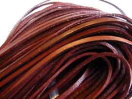1 meter echt leren platte veter mahonie bruin van 3mm breed  - SUPERLAGE PRIJS