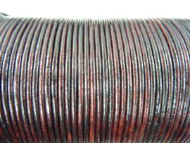 5 meter echt leren veter antiek bruin van 2mm dik - AA+ kwaliteit - SUPERLAGE PRIJS!