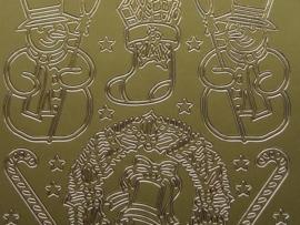 325- diverse kerst afbeeldingen goud 10x20cm