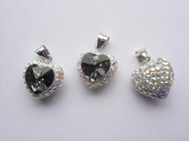 3994.C- Swarovski Elements luxe hanger hart zilverAB/zwart 14x16x9mm AA-kwaliteit!