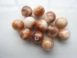 3291- 12 stuks naturel Jade mineraal kralen van 12mm beige/bruin