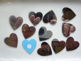 8002 561- 12 stuks spiegelornamentjes hartjes zelfklevend 3cm