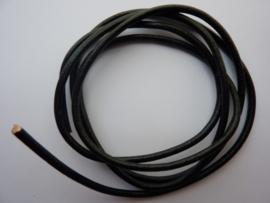 1 meter echt leren veter zwart van 3mm dik - AA kwaliteit - SUPERLAGE PRIJS!