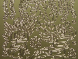 st 236- kerstafbeelding engel goud 10x20cm
