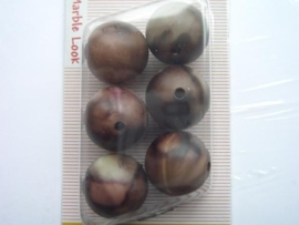 "12094/9404KA- 6 x matte 18mm ""marble look"" bruin/beige"