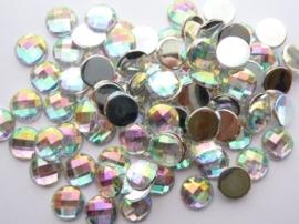 85 stuks strass stenen van 10mm kunststof zilver AB regenboog - SUPERLAGE PRIJS!